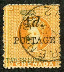 GRENADA SG41c 1888-91 4d on 2s orange 4mm space FIRST S in SHILLINGS INVERTED