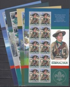 Gibraltar, Scott cat. 1080-1083. Europa-Scout Centenary sheets of 10.