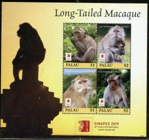 PALAU 2019  LONG TAILED MACAQUE SHEET MINT NH