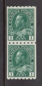 Canada #123 Very Fine Never Hinged Coil Pair **With Certificate**
