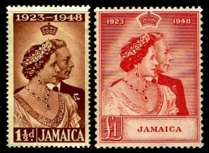 1948 Jamaica #138-39 Silver Wedding Issues - OGHR & OGNH - VF - $28.75 (E#3526)