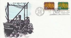 UN #116/117 FREEDOM FROM HUNGER FDC 1963 -Glory