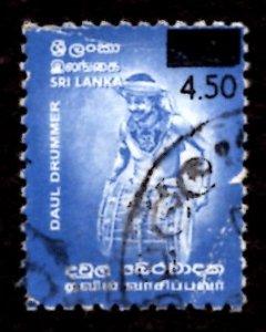 Sri Lanka SURCHARGED 2002 Daul Drummer, Dance 4.50r on 3.50r Sc.1406 Used (#6)