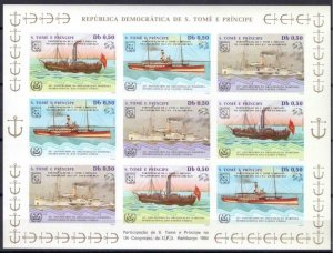 St. Thomas & Prince Islands MNH S/S Transport Ships 1984 9 Stamps
