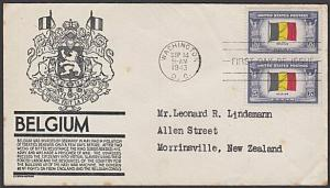 USA 1943 FDC to New Zealand - Overrun Nations BELGIUM......................57711