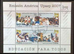 CUBA Sc# 4785a-d  UPAEP  Education for All  SPECIAL EDITION SHEETLET 2007  used