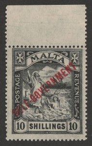 MALTA : 1922 Self-Government St Paul 10/- , wmk script. MNH **.