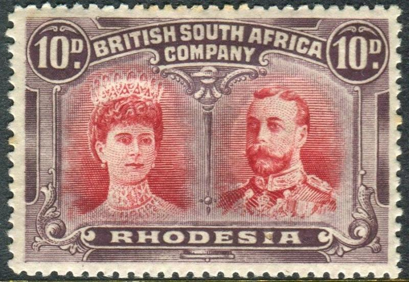 RHODESIA-1910-13 10d Carmine & Deep Purple lightly mounted mint example Sg 150