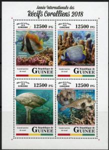 GUINEA 2018 INT'L YEAR OF THE CORAL REEFS  SHEET  MINT NEVER HINGED