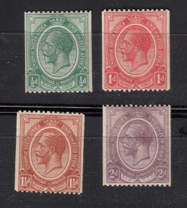J28433, 1913-24 south africa set mh 1 mhr #17-20 coils king $62.00 scv
