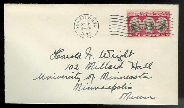 UNITED STATES FDC #703 Oct 19 1931 Yorktown