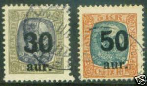 Iceland Island Scott 137-8 1925 key stamps to set CV$90