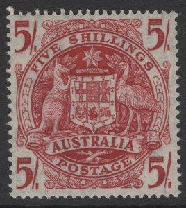 AUSTRALIA SG224ab 1951 5/= CLARET THIN PAPER MNH