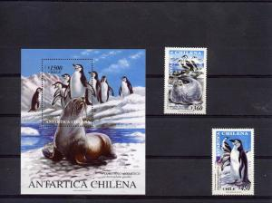 Chile 1999 ANTARCTIC PENGUINS set (2)+ s/s Perforated Mint (NH)