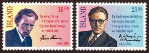 Iceland 654-655, MNH. Poets. Steinn Steinarr, David Stefansson, 1988