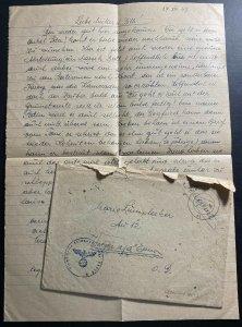 1943 Germany Feldpost Croatian Units Cover WW2 Original Letter