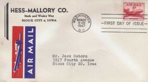 C33 5c AIRMAIL 1947 - Hess-Mallory Co.