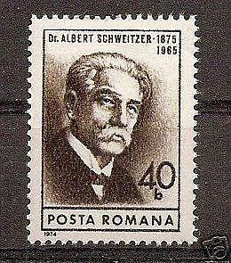 Romania 1974 Albert Schweitzer Compose Music Famous People Stamp MNH Mi 3243