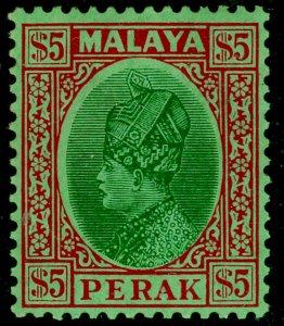 MALAYSIA - Perak SG102, $5 green & red/emerald, LH MINT. Cat £150.