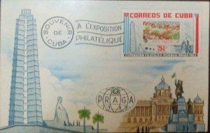 A) 1962, CUBA, WORLD PHILATELIC EXHIBITION PRAGUE, SOUVENIR
