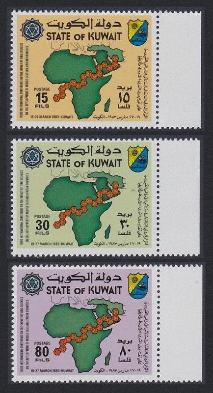 Kuwait Viral Diseases 3v with right margins SG#1000-1002 SC#921-923