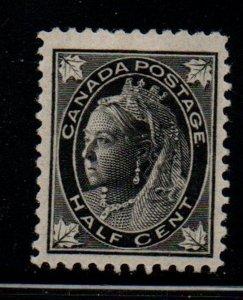Canada Sc 66 1897 1/2c black Victoria Maple Leaf stamp mint