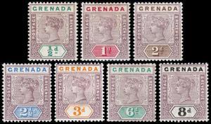 Grenada Scott 39-45 (1895-99) Mint H VF, CV $106.25 B