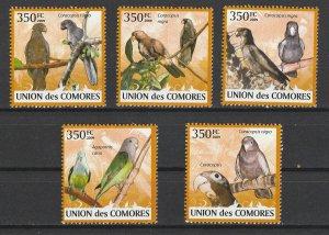 Comoro Islands MNH Set Of 5 Parrots 2009