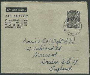 BERMUDA GVI 6d airletter commercially used 1953 to UK......................42557