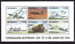 Nicaragua, Scott cat. 2045 a-f. D-Day, 50th Anniversary sheet. ^