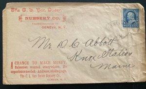 1880s Geneva NY USA Advertising Nursery Co Cover To Knox Station ME