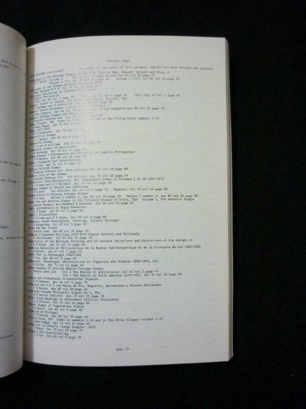 INDEX TO CINDERELLA PHILATELIST 1961-1985 AND TO THE PRIVATE POST by IAN D CRANE