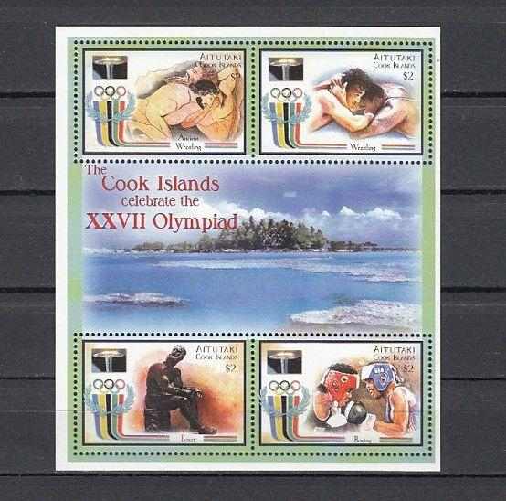 Aitutaki, Scott cat. 531. Sydney Olympics sheet.