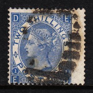 GREAT BRITAIN — SCOTT 55 (SG 119) — VICTORIA 2/- — PLATE 1 — USED — SCV $180.00