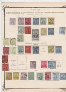 trinidad mounted mint and used stamps on album page   ref r9072