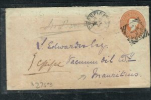 MAURITIUS  (P2708B)  1897 INDIA QV 2A 6P INCOMING COVER ARRIVAL BACKSTAMPS  WOW!