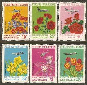 Gabon #C109-11 NH Flowers & Planes (6 values)