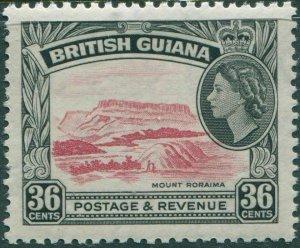British Guiana 1954 SG361 36c red and black QEII Mount Roraima MLH