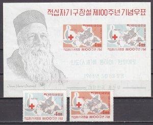 South Korea, Scott cat. 383-384, 384a. Centenary of the Red Cross. ^