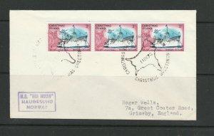 Christmas island, 1975 Envelope with 3 3c ship def, Christmas Greetings handstam