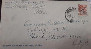 V) 1955 MEXICO, POSTAL STATIONARY,  FROM MEXICO VENADO TO FLORIDA, BLACK CANCELL
