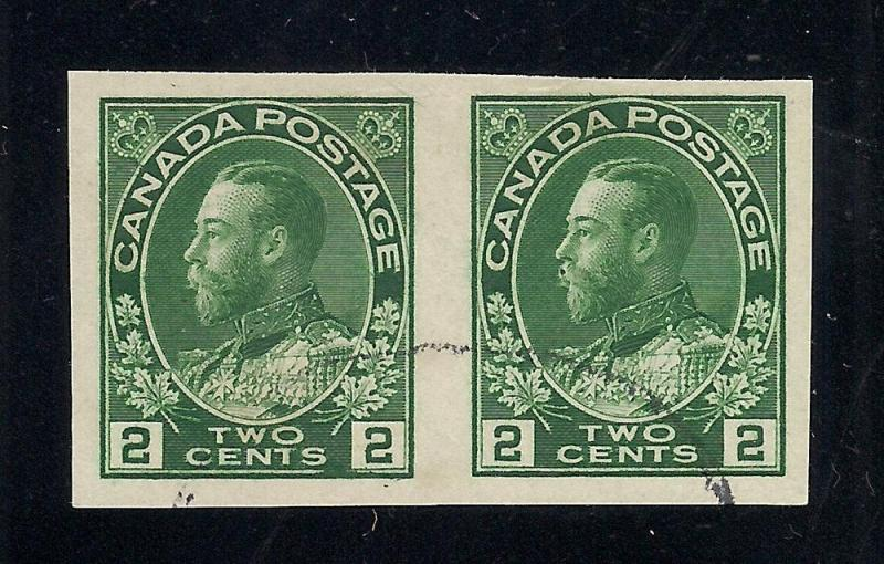 Canada #137 Green - Imperforate Pair - Used