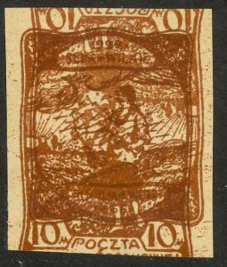 CENTRAL LITHUANIA 1922 10m NATL PARLIAMENT DOUBLE IMPRESSION 1 INVERTED Sc 53