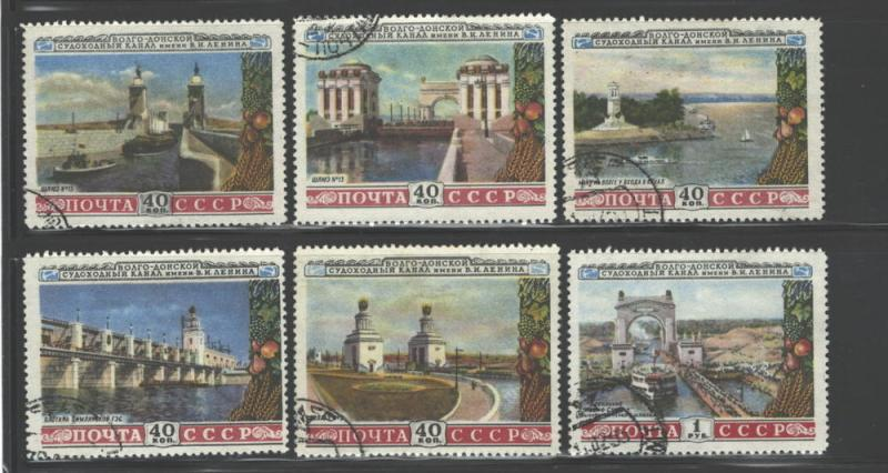 RUSSIA 1953 VOLGA - DON CANAL #1666 - 1671  USED