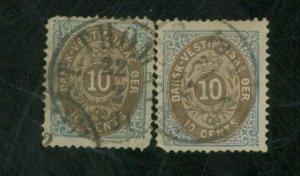 Danish W Indies #10a (2) Used F-VF Sm faults Cat $80