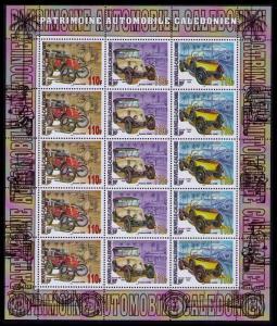 New Caledonia Vintage Cars Sheetlet of 15v SG#1371-1373 MI#1384-1386