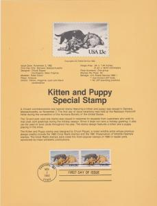 US SP598 Kitten and Puppy Souvenir Page #2025