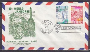 Philippines, Scott cat. B11a. 10th Scout Jamboree, Tete-beche. First day cover.^