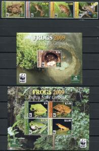 Papua New Guinea 2009 wwf frogs reptiles animals set+klb+s/s MNH