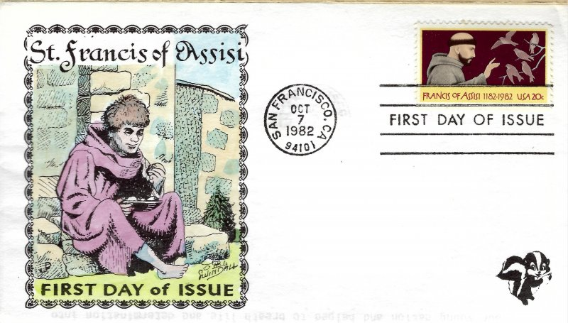 Pugh Designed/Painted St. Francis of Assisi  FDC.. 145 of 153 created!
